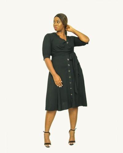 Black sash shirt dress