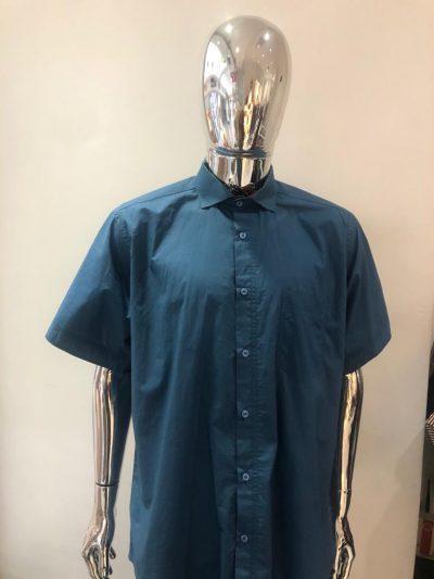 Tailoredfitlinenplainblueshortsleevesshirt