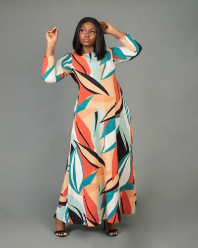 biwakanimulti-colouredpatternedflowydress